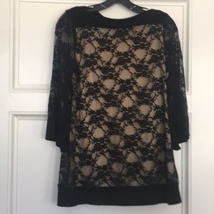 New Directions Black Lace Shirt